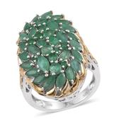Kagem Zambian Emerald 14K YG and Platinum Over Sterling Silver Elongated Cluster Ring (Size 6.0) TGW 4.89 cts.