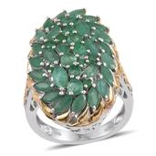 Kagem Zambian Emerald 14K YG and Platinum Over Sterling Silver Elongated Cluster Ring (Size 7.0) TGW 4.89 cts.