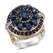 Thai Blue Star Sapphire, Mozambique Garnet, White Topaz 14K YG and Platinum Over Sterling Silver Ring (Size 6.0) TGW 12.590 cts.