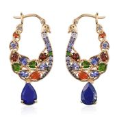 Stefy Lapis Lazuli, Multi Gemstone 14K YG Over Sterling Silver Hoop Earrings TGW 7.620 Cts.