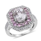 XIA Kunzite, Madagascar Pink Sapphire, White Topaz Platinum Over Sterling Silver Ring (Size 8.0) TGW 7.12 cts.