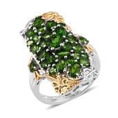 Russian Diopside 14K YG and Platinum Over Sterling Silver Elongated Ring (Size 10.0) TGW 5.36 cts.