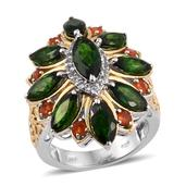 Russian Diopside, Jalisco Fire Opal, White Topaz 14K YG and Platinum Over Sterling Silver Openwork Ring (Size 9.0) TGW 6.640 cts.