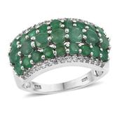 Kagem Zambian Emerald, White Topaz Platinum Over Sterling Silver Ring (Size 6.0) TGW 3.600 cts.