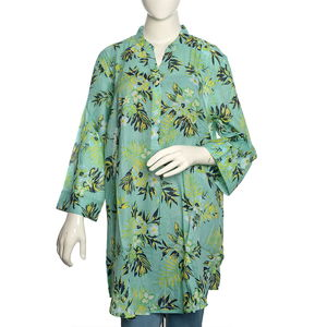 Seafoam Floral Print 100% Cotton Tunic (33.5x26.5 in)