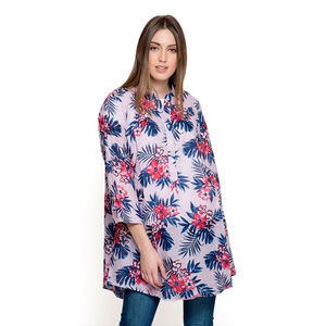 Lilac and Blue 100% Cotton Ruffled V-Neck Floral Button-up Tunic (Large)