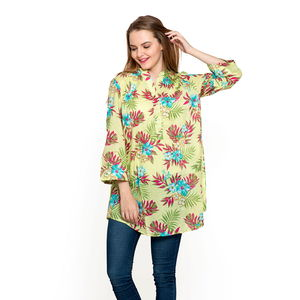 Lime Green 100% Cotton Ruffled V-Neck Floral Button-up Tunic (Large)