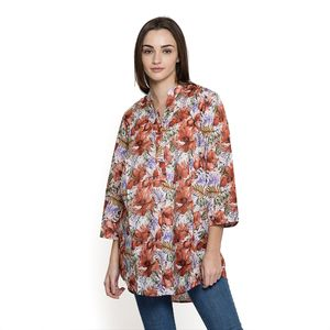 Burnt Orange 100% Cotton Ruffled V-Neck Floral Button-up Tunic (Large)
