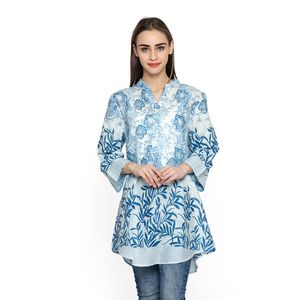 Blue 100% Cotton Ruffled V-Neck Paisley Floral Button-up Tunic (Large)