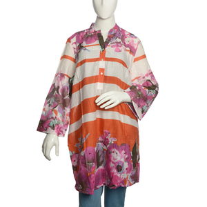 Burnt Orange and White Stripe 100% Cotton Tunic with Magenta Floral Pattern (Large)