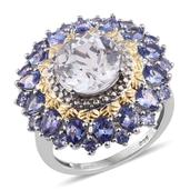 XIA Kunzite, Tanzanite 14K YG and Platinum Over Sterling Silver Ring (Size 8.0) TGW 7.45 cts.