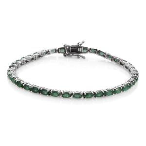 Brazilian Emerald Platinum Over Sterling Silver Bracelet (8.00 In) TGW 8.500 cts.