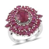 Niassa Ruby, Ruby Platinum Over Sterling Silver Ring (Size 7.0) TGW 10.500 cts.