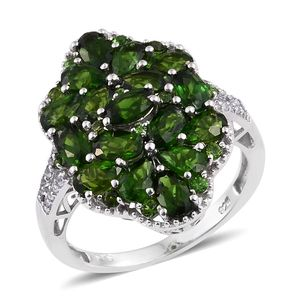 Russian Diopside, White Topaz Platinum Over Sterling Silver Split Cluster Ring (Size 7.0) TGW 5.520 cts.