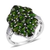 Russian Diopside, White Topaz Platinum Over Sterling Silver Split Cluster Ring (Size 8.0) TGW 5.520 cts.