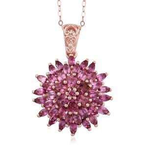 Pink Tourmaline 14K RG Over Sterling Silver Pendant With Chain (20 in) TGW 4.28 cts.