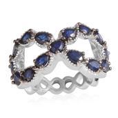 Jewel Studio by Shweta Kanchanaburi Blue Sapphire Platinum Over Sterling Silver Openwork Infinity Ring (Size 6.0) TGW 3.300 cts.