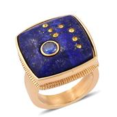 Lapis Lazuli, Simulated Blue Diamond, Yellow Austrian Crystal ION Plated YG Stainless Steel Ring (Size 7.0) TGW 20.000 cts.