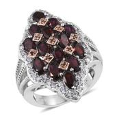 Anthill Garnet, White Zircon, Red Diamond 14K RG and Platinum Over Sterling Silver Ring (Size 8.0) TDiaWt 0.05 cts, TGW 4.570 cts.