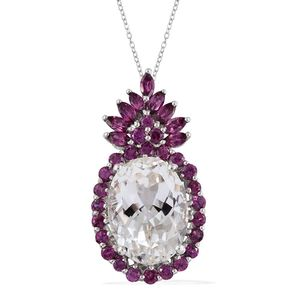 XIA Kunzite, Orissa Rhodolite Garnet 14K RG and Platinum Over Sterling Silver Pendant With Chain (20 in) TGW 14.30 cts.