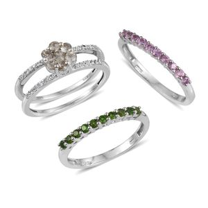 Set of 3 Turkizite, Multi Gemstone Platinum Over Sterling Silver Interchangeble Band Rings (Size 7.0) TGW 1.57 cts.