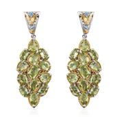 Hebei Peridot, Swiss Blue Topaz 14K YG and Platinum Over Sterling Silver Earrings TGW 10.44 cts.