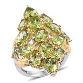 Hebei Peridot, Swiss Blue Topaz 14K YG and Platinum Over Sterling Silver Elongated Ring (Size 6.0) TGW 9.14 cts.