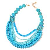 Blue Howlite, Seed Bead Goldtone Drape Necklace (20-22 in) TGW 100.000 cts.