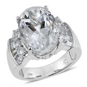 XIA Kunzite, White Topaz Platinum Over Sterling Silver Statement Ring (Size 7.0) TGW 14.550 cts.