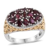 Anthill Garnet 14K YG and Platinum Over Sterling Silver Ring (Size 6.0) TGW 2.68 cts.