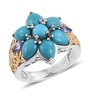 Arizona Sleeping Beauty Turquoise, Tanzanite 14K YG and Platinum Over Sterling Silver Openwork Ring (Size 7.0) TGW 4.850 cts.