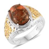 Mojave Orange Turquoise 14K YG and Platinum Over Sterling Silver Ring (Size 8.0) TGW 5.35 cts.