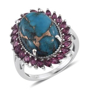 Mojave Blue Turquoise, Orissa Rhodolite Garnet Platinum Over Sterling Silver Ring (Size 5.0) TGW 15.00 cts.