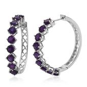 Lusaka Amethyst Platinum Over Sterling Silver Huggie Hoop Earrings TGW 8.100 Cts.