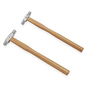 LC DIY Stainless Steel Ball-Peen Hammers Set of 2 With Beach Wood Handle