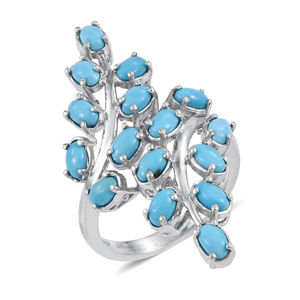 Arizona Sleeping Beauty Turquoise Platinum Over Sterling Silver Elongated Split Ring (Size 9.0) TGW 3.900 cts.