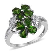 Russian Diopside, White Zircon Platinum Over Sterling Silver Classy Ring (Size 8.0) TGW 2.880 cts.
