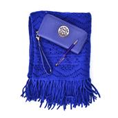 Royal Blue Faux Leather Wallet (7.5x4 in), Royal Blue 100% Acrylic Kimono and Austrian Crystal Pen