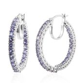 Tanzanite Platinum Over Sterling Silver Inside Out Hoop Earrings TGW 6.70 cts.