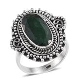 Emerald (Color Enhanced) Sterling Silver Migrain Ring (Size 7.0) TGW 9.250 cts.
