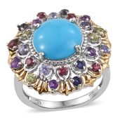 Arizona Sleeping Beauty Turquoise, Multi Gemstone 14K YG and Platinum Over Sterling Silver Statement Ring (Size 8.0) TGW 7.47 cts.