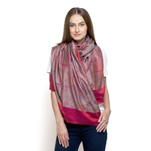 Red and Purple 100% Modal Jacquard Scarf (74x27 in)