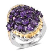 Lusaka Amethyst 14K YG and Platinum Over Sterling Silver Statement Cluster Ring (Size 5.0) TGW 6.930 cts.