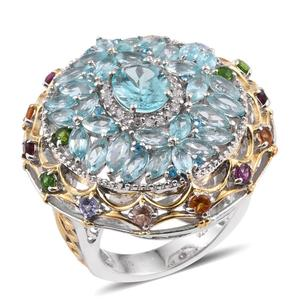 Madagascar Paraiba Apatite, Multi Gemstone 14K YG and Platinum Over Sterling Silver Openwork Statement Ring (Size 7.0) TGW 8.31 cts.