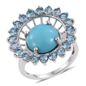 Arizona Sleeping Beauty Turquoise, Electric Blue Topaz Platinum Over Sterling Silver Ring (Size 8.0) TGW 9.700 cts.