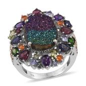 Rainbow Drusy Quartz, Multi Gemstone 14K YG and Platinum Over Sterling Silver Statement Ring (Size 5.0) TGW 13.12 cts.