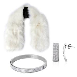 White 100% Polyester Faux Fur Collar Scarf (39x6 in) with Austrian Crystal Stainless Steel Bangle (7.50 in) and Earrings