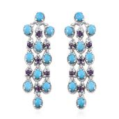 Arizona Sleeping Beauty Turquoise, Amethyst Platinum Over Sterling Silver Chandelier Earrings TGW 4.20 cts.