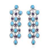 Arizona Sleeping Beauty Turquoise, Amethyst Platinum Over Sterling Silver Chandelier Earrings TGW 4.200 Cts.