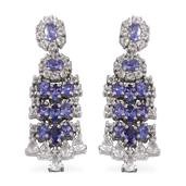 White Topaz, Tanzanite Platinum Over Sterling Silver Earrings TGW 9.620 Cts.